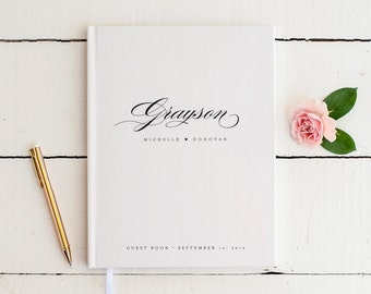 Wedding Guest Book Wedding Guestbook Custom Guest Book Personalized classic custom design wedding gift keepsake calligraphy black and white