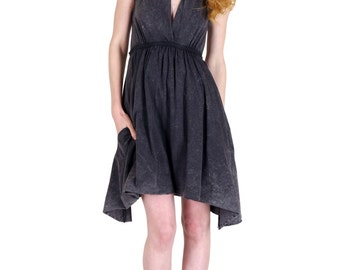 Grecian Goddess Pocket Dress - Vintage Black