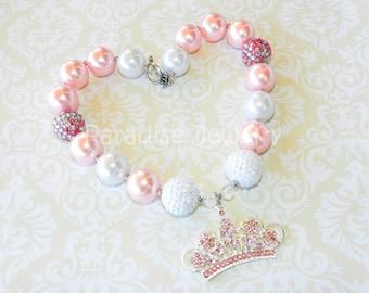 Pink Princess Chunky Bead Necklace Tiara Crown Pearl Birthday Princess Bubblegum Bead Toddler Necklace