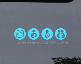Crunchy mama vinyl decals - crunchy parenting - cloth diapering, breastfeeding, baby wearing, cosleeping - vinyl decal sticker