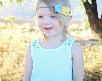 Feather Headband - Felt Flower Headband - Boho Headband - Rose Headband - Felt Headband - Teal Mustard Gray - Felt Headband Baby - Headbands