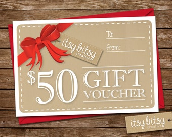 Gift Voucher 50 DOLLARS AU, Gift Certificate, Gift Card, Last minute gift