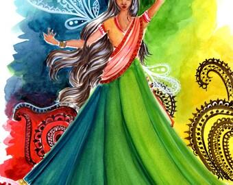 Mehndi Dancer Art Print, Wall Art, Wall Hanging, Illustration Print, Gift for Her,Boutique Art Print, Mehndi Art Print