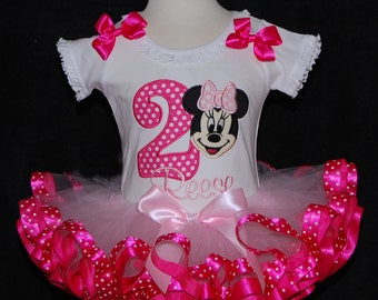 Birthday Tutu Outfit,  Minnie Mouse with Birthday Number   2 piece Tutu Set For 2nd Birthday Shocking Pink