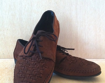 1980s Preppy Dexter Chocolate Brown Nubuck Oxford Lace up Woven Toe Size 10M