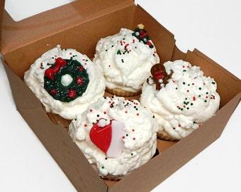 Set of Four Christmas Cupcake Candles