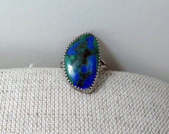Vintage Silver and Azurmalachite Statement Ring