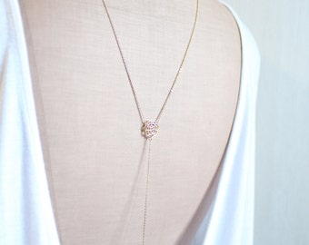 pearl camellia - Back Drop Necklace, Shoulder Necklace, Pearl Bridal Necklace, Art Deco, Back Chain Necklace, Backdrop Necklace, Y Necklace