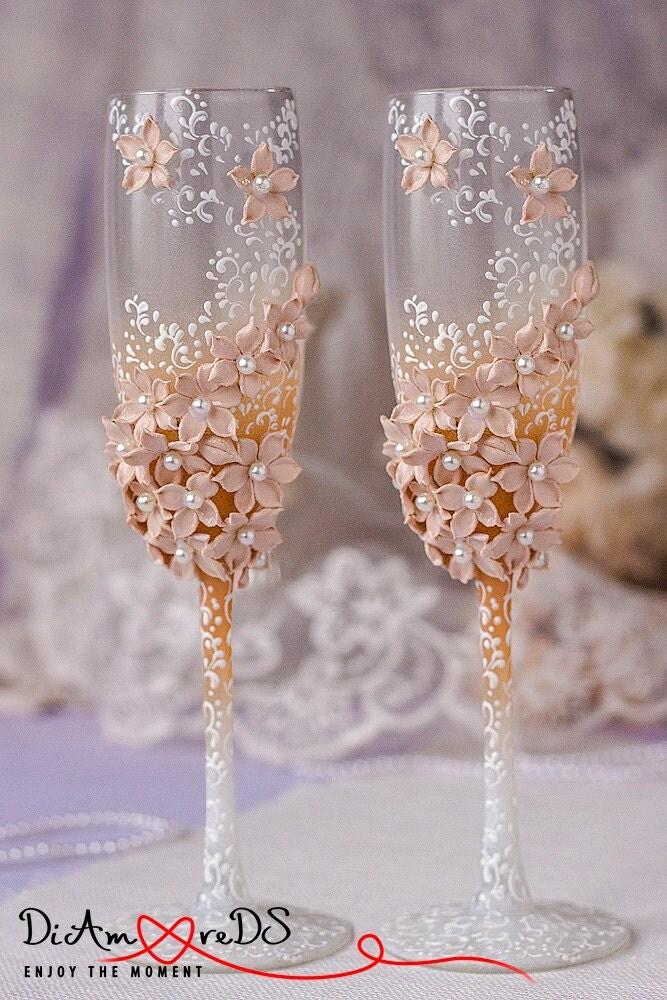 White cappuccino caramel wedding champagne glasses by - Como decorar copas de cristal ...