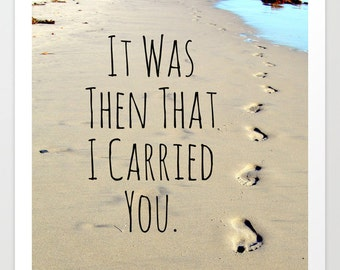 Footprints Poem, Footprints in Sand, Inspirational Decor, Christian Decor, Faith Home Decor, Faith Photography, Footprints Photo, Beach Art