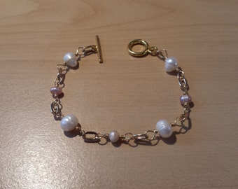 Pink & White Pearl gold bracelet