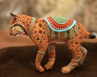 Bobcat totem figurine lynx miniature figure