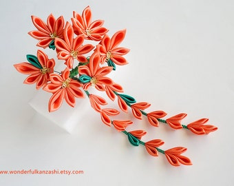Maple Leaves AutumnTsumami Kanzashi Wedding Fabric Flower Hair Comb Orange and Green Wedding Accessories