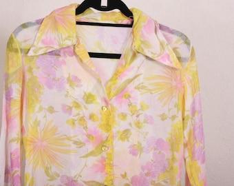 70's Floral Blouse