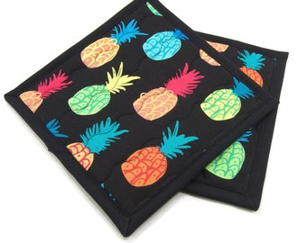 Quilted Potholders, Fabric Hot Pads - Tropical Bright Pineapples on Black Cotton Pot Holders