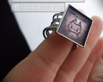 demon ring, sketchart ring, monster ring, wire ring,
