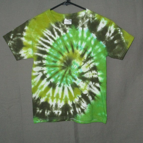 Hand Dyed Childrens Green Spiral Tie Dye Clothing