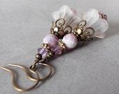 Dangly Flower Earrings Beaded Earrings Boho Jewelry Rustic Bronze Jewelry White and Mauve Flower Dangles Handmade Bead Jewelry Shop Floral