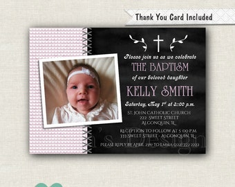 Chalkboard Baptism Invitation - 1st Communion Invitation - Purple Invitation