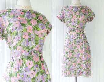 vintage 60s pink & purple floral pansy print dress / linen 1960s wiggle midi / spring flowers / bow tie / size XL