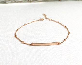 14kt Rose Gold Filled Bar Bracelet with Satelllite Chain, 14kt Gold Filled Bar Bracelet, 925 Sterling Silver Bar Bracelet
