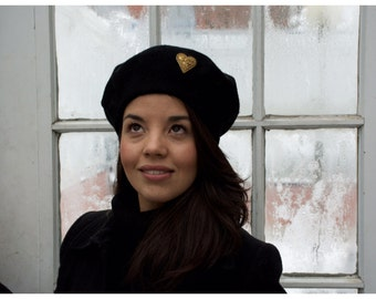 French Beret Hat - Black