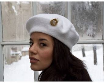 French Beret Hat - White