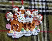 Personalized Christmas Ornament Gingerbread House Family of 5 - Family Christmas Ornament, Gift for Mom, Gift for Grandma - Christmas Magnet