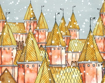 SALE - Postcard Snow Town, Illustrated Postcard, Aquarel and Pen