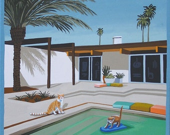 Mid Century Modern Eames Retro Limited Edition Print from Original Painting Cars at the Pool