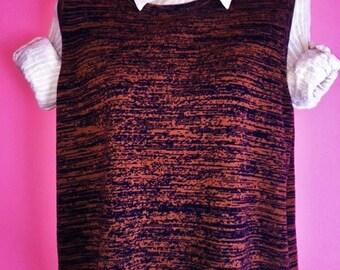 Vintage 90s Brindle Patterned Sweater Vest, Size L