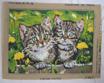 French vintage needlepoint tapestry cats themed