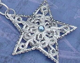 Silver tone Filigree Star Pendant Necklace