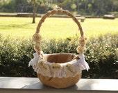 Subtile Burlap Flower Girl Basket - Burlap And Lace Basket - Burlap Wedding Decor - Baskets And Pillows - Flower Girl Accessories
