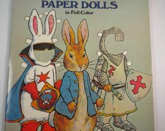Vintage Kathy Allert Peter Rabbit Paper Dolls Color Book Easter Bunny Tale of Peter Rabbit Fisherman Police Motorcycle Santa retro gift