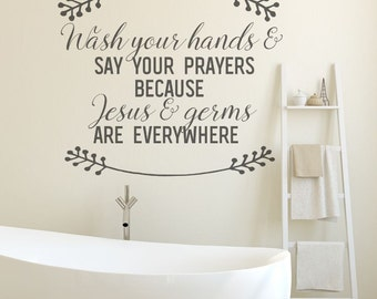 Bathroom Wall Decor, Bathroom Decor, Black, Bathroom Wall Decals, Jesus and Germs, Wall Decals, Wall Decal, Bathroom Wall Art, Deocr