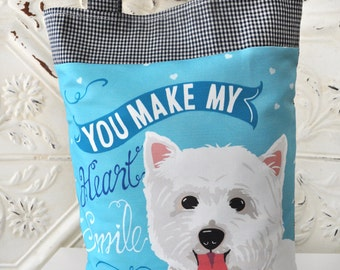 Westie Art Tote Bag- You Make My Heart Smile