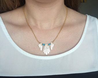 "Fan - 15.25"" gold and turquoise necklace"