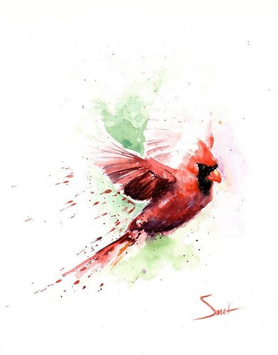Watercolor Cardinal Tattoo: CARDINAL ART PRINT Cardinal Painting Watercolor Cardinal