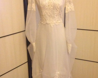Vintage Ivory lace Bo Peep wedding gown SZ S