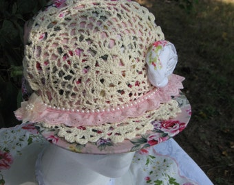 Ladies Shabby Chic Floral snd Doily  Baseball Cap