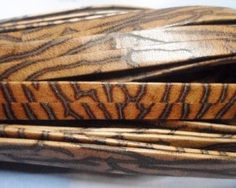Pre Cuts, Leopard Print Genuine 10mm Flat Leather Cord, Leather Bracelet Finding, Jewelry Supplies