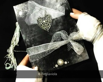 Customize your Moonlight GRIMOIRE spell book of shadows journal diary white heart book witch bos OOAK handmade spells book mirror