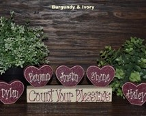 Count Your Blessings Custom Mother's Day Gift Personalized Grandma Gift Wood Heart Block Love Set personalized family home decor primitive
