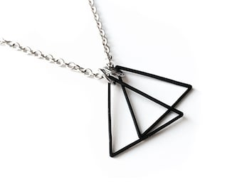 Matte Black Triangle Double Pendant Necklace -  Geometric Necklace - Men's Jewelry - Simple Necklace - Triangle Necklace by Rustic Brand