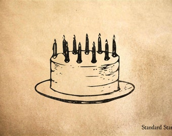 Cake Rubber Stamp - 2 x 2 inches