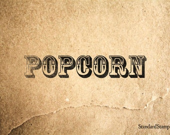 Popcorn Rubber Stamp - 3 x 2 inches