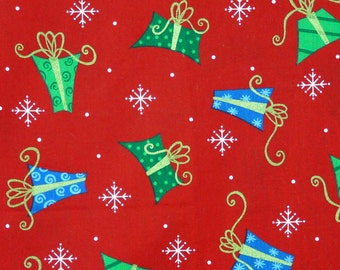 3/4 YARD, Quilting Cotton, Christmas Print Fabric, VIP, Cranston Print Works, Green, Blue Gifts, Snowflakes on Red, B16