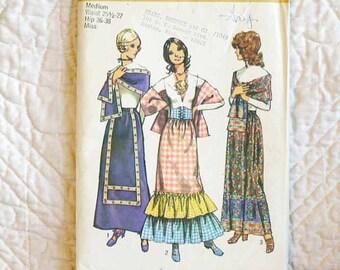Women, European Folk, Halloween Costume Pattern, Simplicity 9672, Skirt, Stole, Belt, 1971 Uncut, Size 12 14