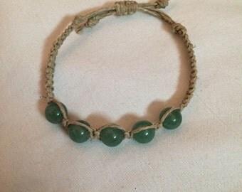 Handmade Hemp Bracelet with Jade Glass Beads